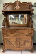 Antique Mid 1800s Solid Oak Sideboard With Beveled Mirror