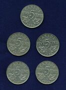Canada George V 1928 1930 1933 1934 And 1935 5 Cents Coins Lot Of 5