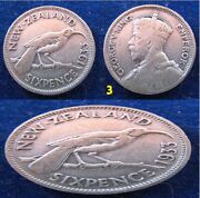 New Zealand - 1933+1940+1946+1948 - 6 Sixpence - Xf- 4 Coins Lot