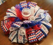 18 Patriotic Centerpiece/candle Ring/wreath Deco Mesh 4th Of July Veteranand039s