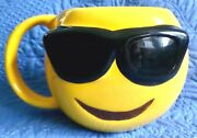 Yellow Large Smiley Face With Sunglasses Oversized Mug Planter Emoji Cup Ex