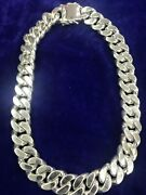 24 Heavy Chunky Biker Cuban Curb Chain Sterling Silver 925 Men's Necklace