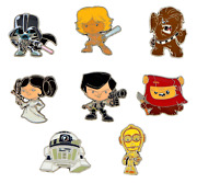 Star Wars Cute Authentic Disney Trading Pin Set - 8 Total Le Pins - Brand New