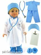 8 Pc Medical Blue Doctor Scrubs Stethoscope Clipboard Fit 18 American Girl Doll