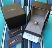 Nib Italy Icon Gg Wide Domed Pierced Band 18k Yellow Gold Ring 5.25