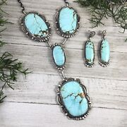 Large 8 Turquoise Lariat Necklace Earrings Native American Gilbert Tom Signed