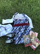 American Girl Nellie Holiday Outfit Dress Shoes Bloomers Cross Necklace Cards