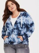 Torrid Plus Sz 1x Blue Tie-dye Zip-up Jacket With Hood And Pockets Discontinued