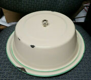 Vintage Green And Cream Enamelware Cake Plate Anddome Cover 14 Glass Handle