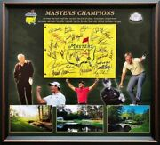 Us Masters Champions Hand Signed Pin Flag - Nicklaus Woods Player Palmer