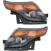 Headlight Set For 2013 2014 2015 Ford Explorer Left And Right With Bulb 2pc