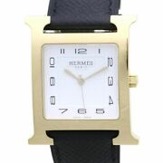 Auth Hermes H Watch Menand039s Watch Hh1.801.131.uno Black Leather /37742 Free Ship