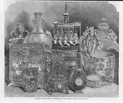 1865 Antique Print - London Crystal Palace Chinese Exhibition Clocks  145