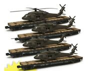 ✅menards Us Army Military Flat Helicopter 4 Car Set Lionel Coupler O Gauge Scale