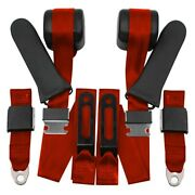 3-point Bench Seat Belt Conversion Kit W Center Lap Flame Red