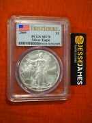2009 1 American Silver Eagle Pcgs Ms70 Flag First Strike Label