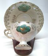 Antique Japan Sterling China Opal Lusterware Pedestal Foot Tea Cup And Saucer