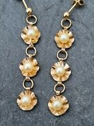 Antique 9ct Gold Pearl Drop Earrings