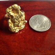 Gold Nugget Ring Approx. 19 Mm Genuine Hand Crafted Alaska Jewelry - 14k Band