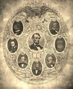 President Abraham Lincoln And Cabinet Oldered Photograph Size 8 X 10