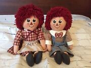 Vintage Inspired Unique Raggedy Ann And Andy Dolls 20andrdquo Set Of 2 Adorable