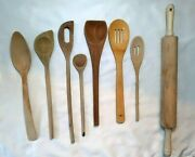 Lot 7 Wooden Spoons Slotted And Rolling Pin Primitive Country Kitchen Utensils