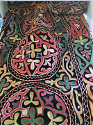 Antique Large Uzbek Susani Dowry Embroidered Altar Table Cover 19th Century