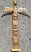 Old 40 Tall Hand Carved Painted Wood Carving Native American Indian Totem Pole