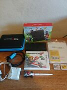 Nintendo New 3ds Super Mario Black Edition In Box W/ Games, Case, Chargers