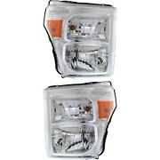 Headlight Set For 2011-2016 Ford F-250 Super Duty Left And Right With Bulb Capa