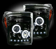 Recon Smoked Projector Headlights Ford Superduty 11-16 Ccfl Technology