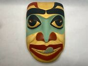 Eskimo Alaskan Birch Hand Carved And Painted Wood Mask By Jim Heaton