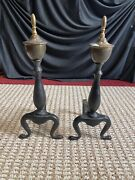 Vtg Federal Style Brass Cast Iron Fireplace Andirons 16 H 5 W