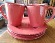 2 Home Italian Rose/ Pink Cup Mug 12 Oz And 3 Dessert Plates 8.5 Replacement