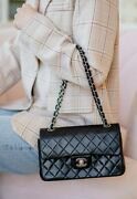 Verified Authentic Black Quilted Leather Vintage Small Double Flap Bag