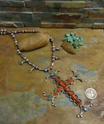 Sale. 19th C. Navajo Red Coral Turquoise Silver Cross Squash Blossom Necklace