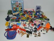 Vintage Toy Junk Drawer Lot Mixed Diecast Cars, Action Figure Weapons, Animals