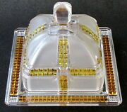 Dalzell, Gilmore, Leighton Glass Amber Stained Frosted Klondike Butter Dish Eapg