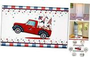 Patriotic 4th Of July American Flag Doormat Usa Rug Non-slip Red Truck Gnome
