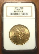 Superb 1904 Gold 20 Double Eagle Liberty Coin Ngc Ms62