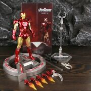 Zd Toys Marvel Legends Mk6 Iron Man Suit 7 Action Figure With Led Base Display