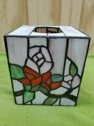 Stained Glass Style Tissue Kleenex Box Cover Roses Red And Pink