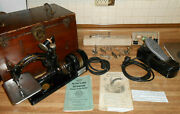 Antique Willcox And Gibbs Automatic Sewing Machine And Foot Pedal, Case And Accessorie