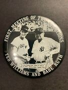 Ted Williams And Babe Ruth First Meeting Of Two Champions Pin Back Button 3.5 Dia.
