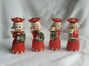 Vintage Christmas Figurines Noel Poinsetta Theme Made In Japan Retro Collectible