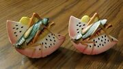 Vintage Watermelon Grasshopper Salt Pepper Shakers Extremely Nice Condition