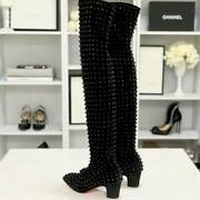 Christian Louboutin Suede Spike Knee High Boots Size Us6 Heel 1.9in. Black Rare
