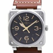 Authentic Bell And Ross Golden Heritage Menand039s Watch Self-winding Leather /37771