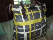 Kate Spade Yellow Gray Ivory Canvas And Leather Shop Beach Work Travel Tote Bag