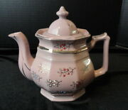 Vintage Htf Redware/red Pottery Mauve Pink And039brown Bettyand039 Teapot-japan Hp Moriage